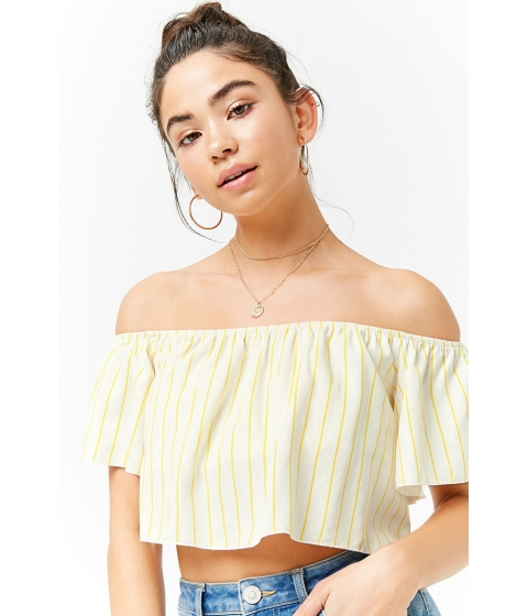 Imbracaminte Femei Forever21 Pinstriped Off-the-Shoulder Crop Top CREAMYELLOW