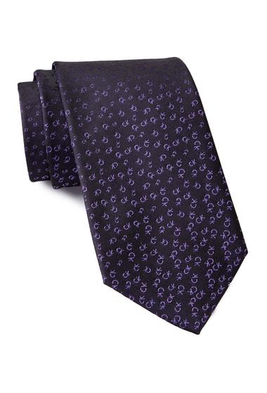 Accesorii Barbati Calvin Klein Allover Tossed Logo Silk Tie PURPLE