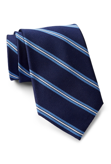Accesorii Barbati Tommy Hilfiger Silk Repp Triple Bar XL Tie BLUE