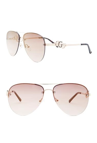 Ochelari Femei GUESS Womens Aviator Metal Frame Sunglasses GLDBRNG