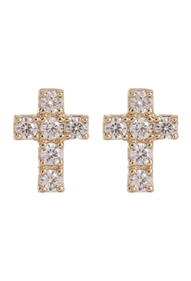 Bijuterii Femei NADRI Reminisce Pave CZ Cross Stud Earrings GOLD