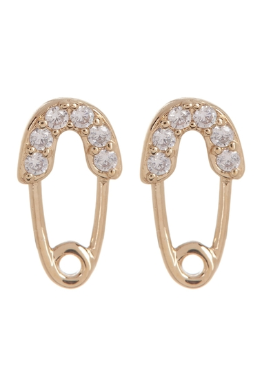 Bijuterii Femei NADRI Reminisce CZ Accented Safety Pin Stud Earrings GOLD