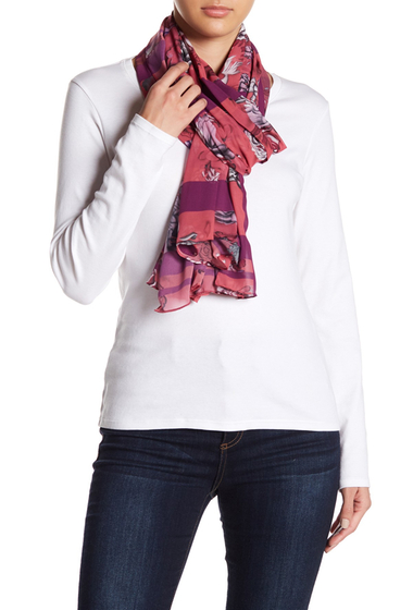 Accesorii Femei Free Press Edgy Floral Oblong Scarf FUSCHIA COMBO