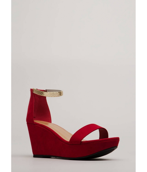 Incaltaminte Femei CheapChic Plated Cool Faux Suede Platform Wedges Red