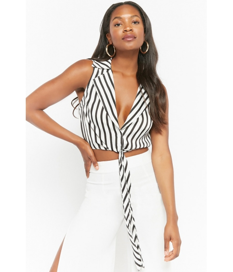 Imbracaminte Femei Forever21 Striped Tie-Front Top BLACKIVORY