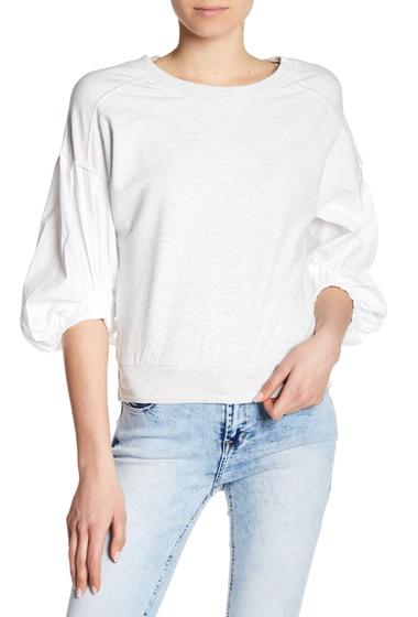 Imbracaminte Femei kensie Poplin Sleeve Sweatshirt LIGHT HEATHER GREY