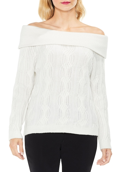 Imbracaminte Femei Vince Camuto Off the Shoulder Cable Sweater ANTIQ WHIT