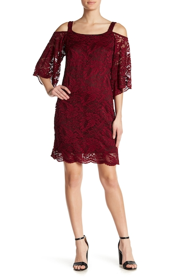 Imbracaminte Femei Robbie Bee Lace Cold Shoulder Dress WINE