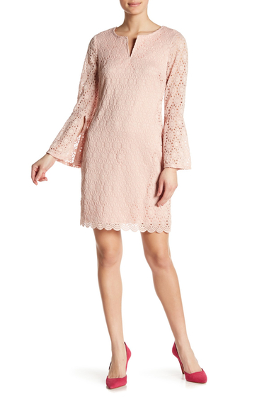 Imbracaminte Femei Robbie Bee Embroidered Long Bell Sleeve Dress DUSTY PINK