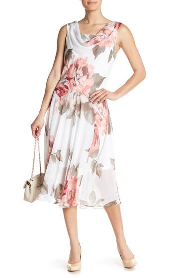 Imbracaminte Femei Robbie Bee Sleeveless Printed Cowl Neck Dress WHITEROSE