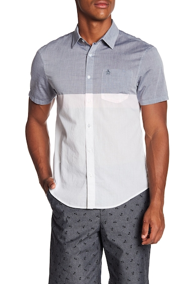Imbracaminte Barbati Original Penguin Short Sleeve Colorblock Slim Fit Woven Shirt MIRAGE GRAY