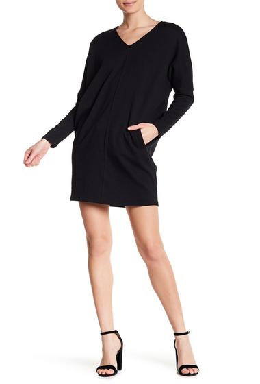 Imbracaminte Femei 14TH PLACE Long Sleeve V-Neck Sweatshirt Shift Dress BLACK