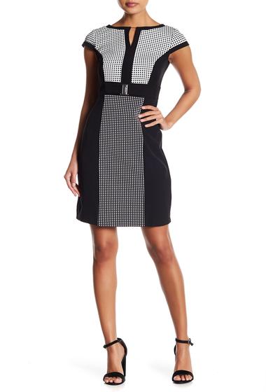 Imbracaminte Femei Sandra Darren Jacquard Sheath Dress Petite BLKWHT