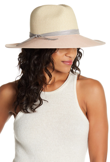 Accesorii Femei San Diego Hat Company Silver Band Two Tone Straw Floppy Hat BLUSH