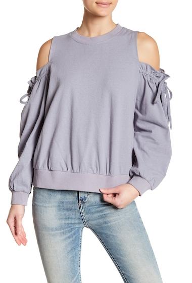 Imbracaminte Femei Lush Ruffle Cold Shoulder Linen Blend Sweatshirt BLUE