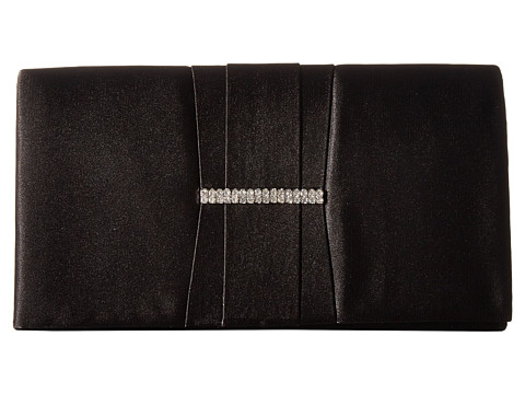 Genti Femei Jessica McClintock Gloria Satin Pleated Brooch Clutch Black