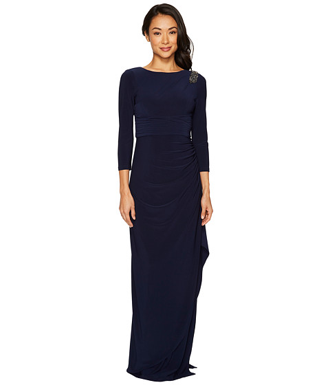 Imbracaminte Femei Adrianna Papell Long Sleeve Jersey Gown with Beaded Shoulder Midnight