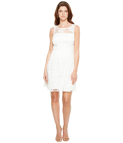 Imbracaminte Femei Adrianna Papell Zelda Fringe Embroidered Lace Mesh Fit and Flare Sleeveless Dress White