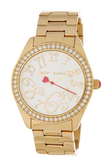 Ceasuri Femei Betsey Johnson Womens Crystal Embellished Bracelet Watch 40mm GOLD