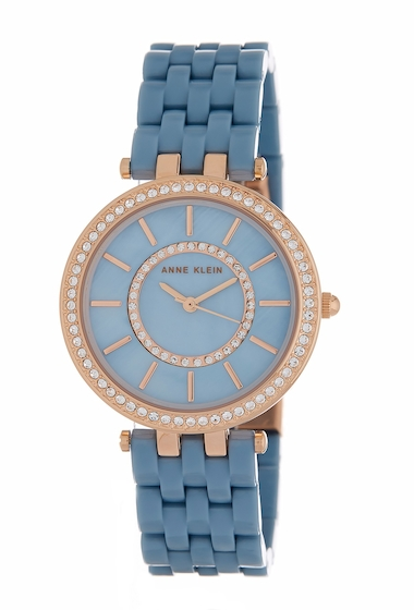 Ceasuri Femei AK Anne Klein Womens Swarovski Crystal Embellished Bracelet Watch 34mm NO COLOR