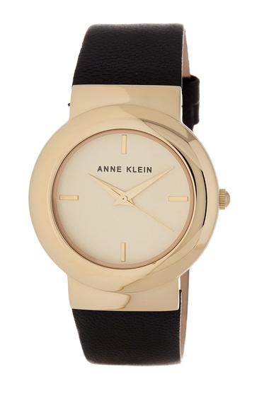 Ceasuri Femei AK Anne Klein Womens Round Leather Strap Watch 36mm BLACKWHITEGOLD