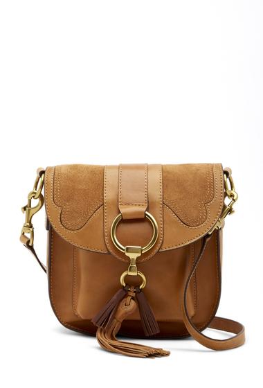Genti Femei Frye Ilana Leather and Suede Saddle Bag TAN MULTI