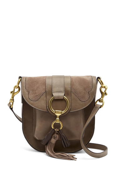 Genti Femei Frye Ilana Leather and Suede Saddle Bag GREY MULTI