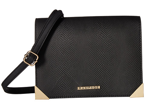 Genti Femei Rampage Mixed Media Crossbody with Faceted Metal Corners Black