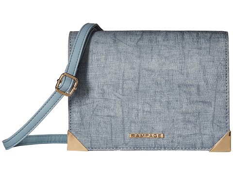 Genti Femei Rampage Mixed Media Crossbody with Faceted Metal Corners Chambray