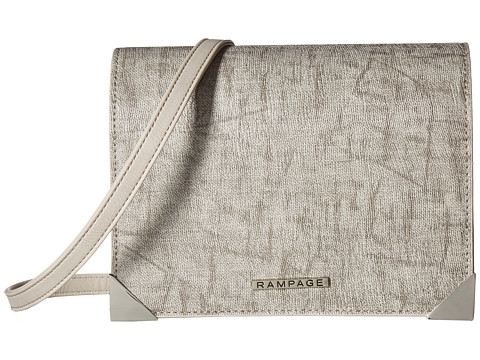 Genti Femei Rampage Mixed Media Crossbody with Faceted Metal Corners Stucco