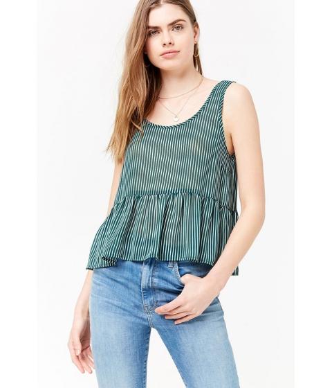 Imbracaminte Femei Forever21 Striped Chiffon Top GREENWHITE