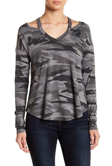 Imbracaminte Femei Sweet Romeo V-Neck Cutout Long Sleeve Shirt CHARCOAL CAMO