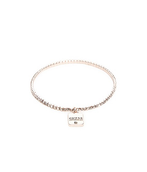 Bijuterii Femei GUESS Rose Gold-Tone Logo Charm Rhinestone Stretch Bracelet rose gold