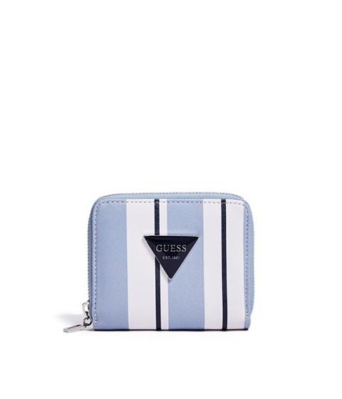 Accesorii Femei GUESS Abree Striped Small Zip-Around Wallet blue multi