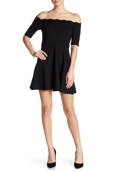 Imbracaminte Femei Free Press Scalloped Off-the-Shoulder Dress BLACK