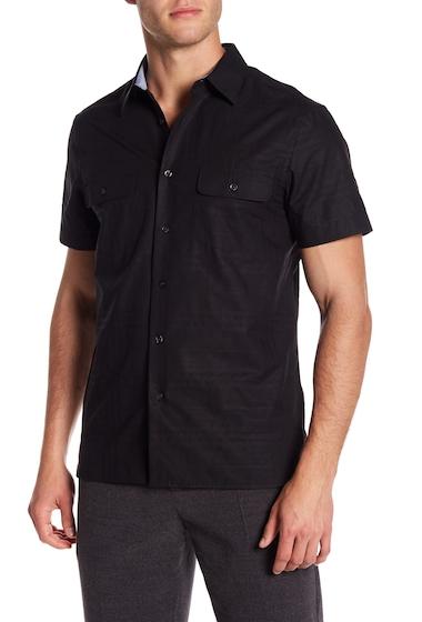 Imbracaminte Barbati Perry Ellis Plaid Short Sleeve Regular Fit Shirt BLACK