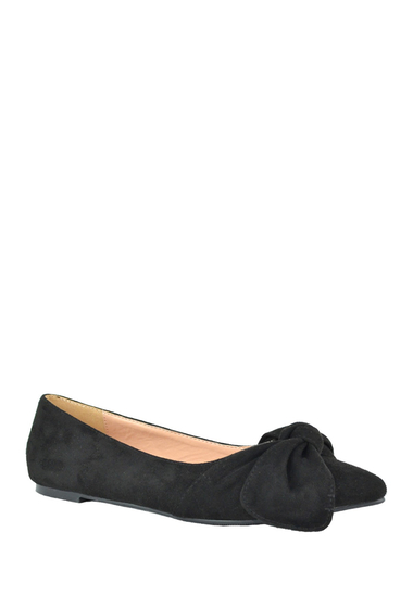 Incaltaminte Femei Chase Chloe Dalena Pointed Toe Bow Ballet Flat BLACK SUEDE