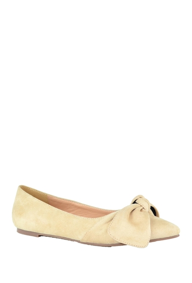 Incaltaminte Femei Chase Chloe Dalena Pointed Toe Bow Ballet Flat NUDE SUEDE