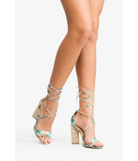 Incaltaminte Femei CheapChic Laced And Loaded Heel Green Print