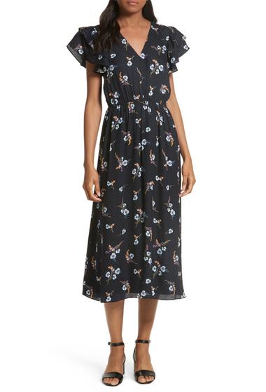 Imbracaminte Femei Rebecca Taylor Natalie Fleur Silk Midi Dress DARK NAVY COMBO