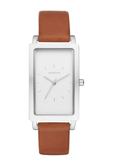 Ceasuri Femei Skagen Womens Hagen Rectangle Leather Strap Watch 43mm NO COLOR