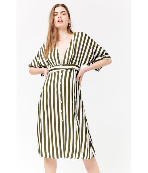 Imbracaminte Femei Forever21 Plunging Striped Dress OLIVEIVORY