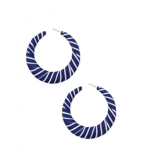 Bijuterii Femei Forever21 Striped Hoop Earrings BLUEWHITE
