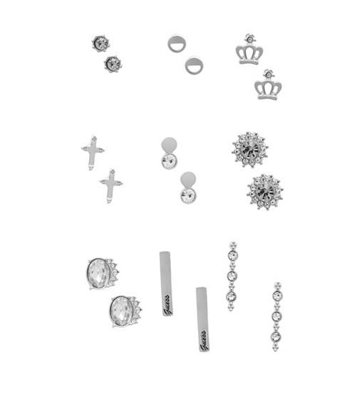 Bijuterii Femei GUESS Silver-Tone Crown Earrings Set silver