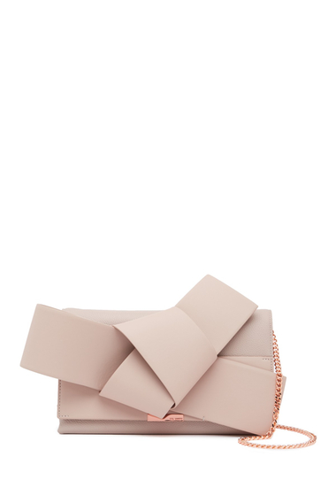 Genti Femei Ted Baker London Asterr Giant Knot Bot Leather Clutch Bag TAUPE