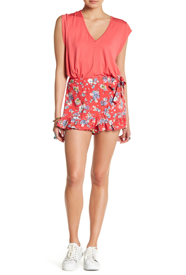 Imbracaminte Femei Free People Flirting Flours Floral Print Mini Skirt RED