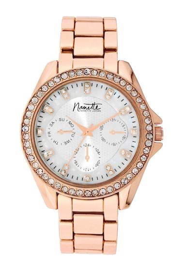 Ceasuri Femei NANETTE nanette lepore Womens Wind-Up Crystal Bracelet Watch 40mm ROSE-GOLD