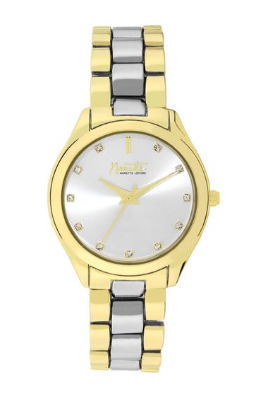 Ceasuri Femei NANETTE nanette lepore Womens Wind-Up Two-Tone Crystal Bracelet Watch 34mm TWO-TONE