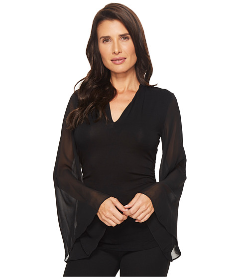 Imbracaminte Femei Vince Camuto Chiffon Bell Sleeve Side Ruched Top Rich Black