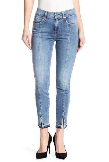 Imbracaminte Femei 7 For All Mankind Skinny Ankle Front Slit Jeans ROCKWAYBCH